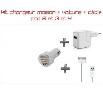 kit 3 en 1 iPad - Chargeur maison & voiture double USB + Câble 1M Blanc