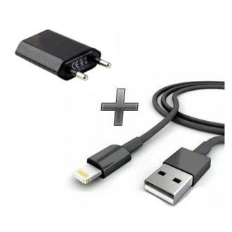 Kit 2 en 1 Chargeur maison + Câble USB - iPhone 6+ - Noir