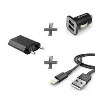 Kit chargeur 3 en 1 - Chargeur maison & voiture + câble - iPhone 6+ - Noir