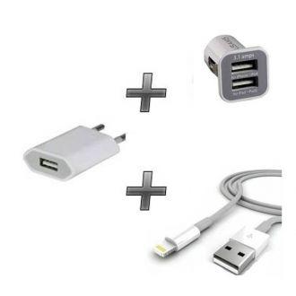 Kit chargeur 3 en 1 - Chargeur maison & voiture + câble - iPhone 6+ Blanc