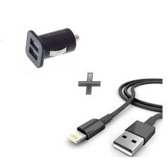 Chargeur voiture double usb + câble USB - iPhone 6+ - Noir