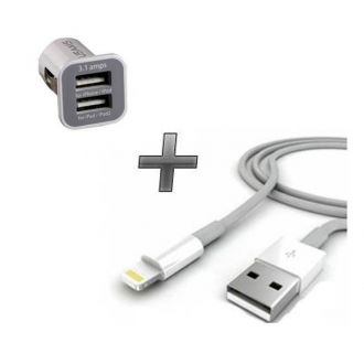 Chargeur voiture double usb + câble USB - iPhone 6+ - Blanc