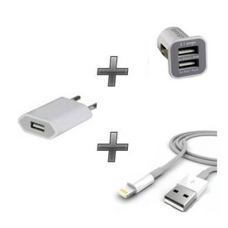 Kit chargeur 3 en 1 - iPod Touch 5/6 - Chargeur maison & voiture + câble - Blanc
