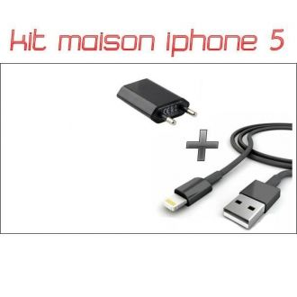Kit 2 en 1 Chargeur maison + Cable - iPhone 5/5S/5C/SE - Noir