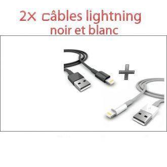 2X câbles USB - iPhone 5, iPhone 6, iPod Touch 5, iPad Air - Blanc et noir