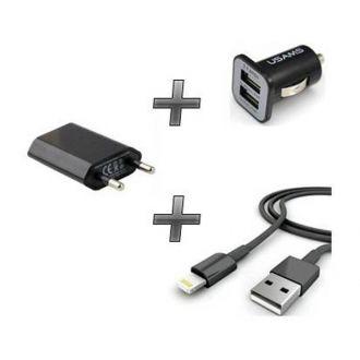 Kit chargeur 3 en 1 - Chargeur maison & voiture + câble - iPod Touch 5/6 - Noir