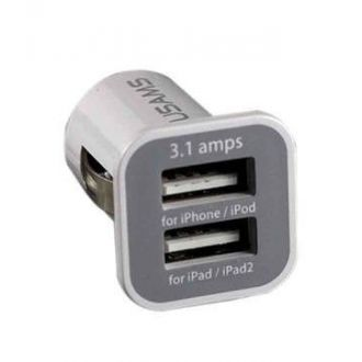 Chargeur voiture double USB - iPod Touch 5/6 - 3.1 A + 1 A - Blanc