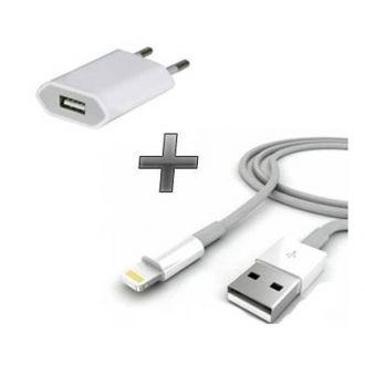 Kit 2 en 1 Chargeur maison + câbles - iPod Touch 5/6 - Blanc