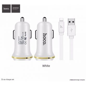 Kit chargeur voiture + câble - Hoco - iPhone,iPod & iPad - Blanc