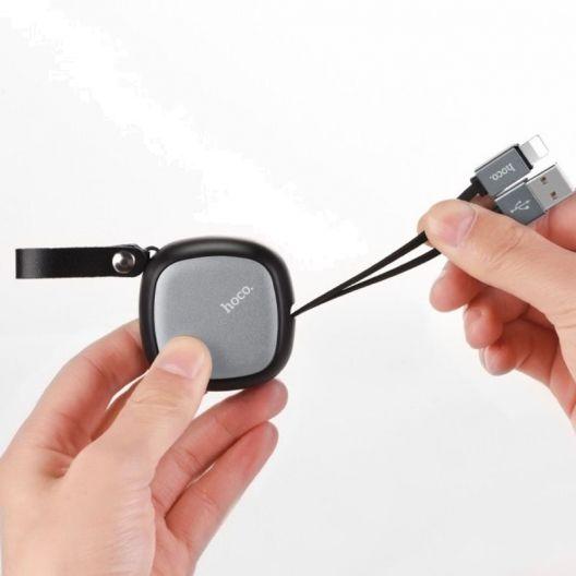 Câble lightning rétractable et portable HOCO U33 90cm - Noir - Apple iPhone