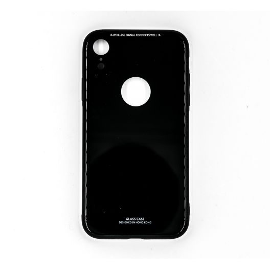 Coque GLASS iPhone XR - Noir brillant