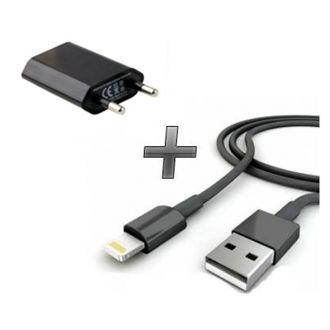 Kit 2 en 1 Chargeur maison + Câble iPhone 7 & 7+ - Noir