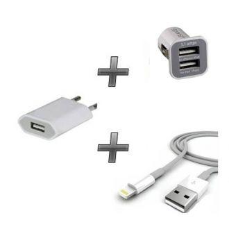 Kit chargeur 3 en 1 - Chargeur maison & voiture + câble - iPhone 7 & 7+ - Blanc