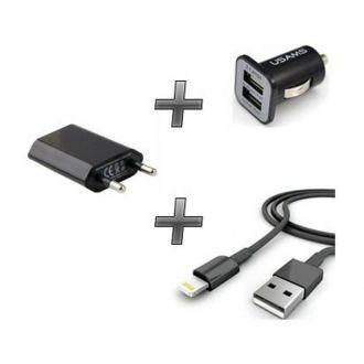 Kit chargeur 3 en 1 - Chargeur maison & voiture + câble - iPhone 7 & 7+ - Noir